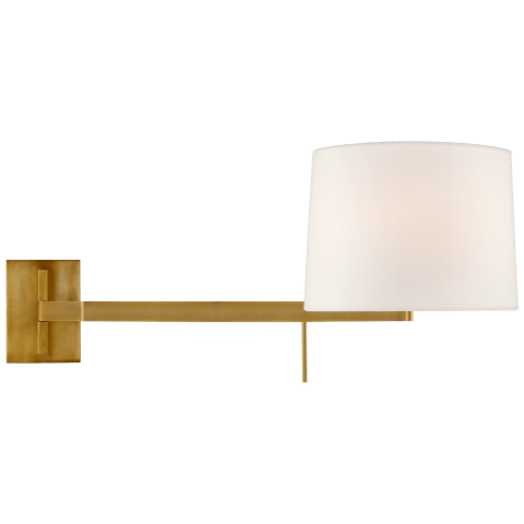 Sweep Medium Left Articulating Sconce in Soft Brass with Linen Shade