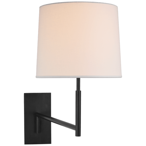 Clarion Medium Articulating Sconce in Bronze with Linen Shade