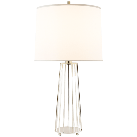 Carousel Table Lamp in Soft Silver with Silk Shade