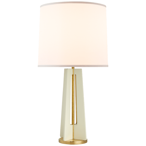 Silhouette Straight Table Lamp in China White and Soft Brass with Silk Shade