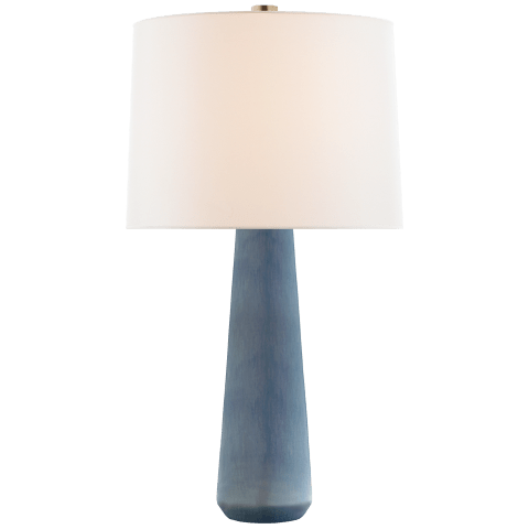 Athens Large Table Lamp in Polar Blue Crackle with Linen Shade