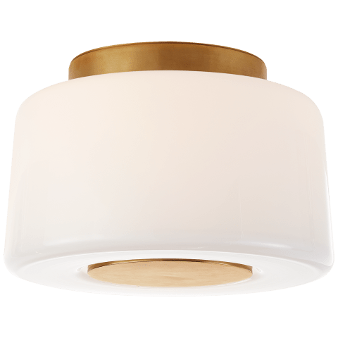 Acme Small Flush Mount in Soft Brass with White Glass