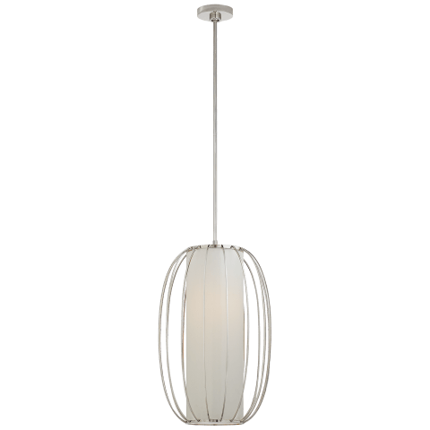 Carousel Medium Oblong Lantern in Polished Nickel with Linen Shade