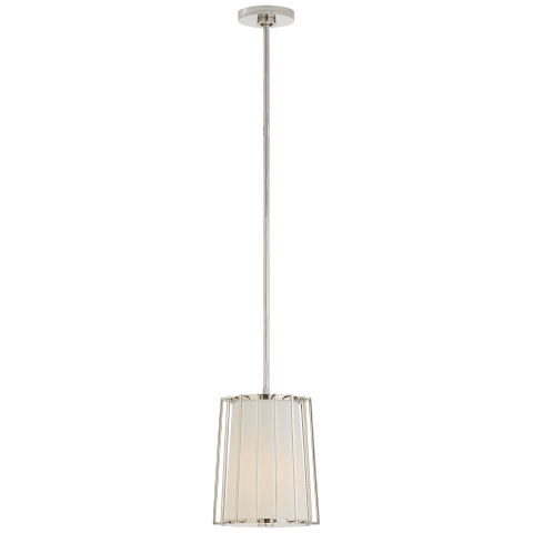 Carousel Small Tapered Lantern in Polished Nickel with Linen Shade