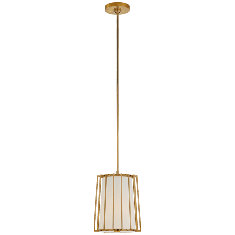 Carousel Small Tapered Lantern in Soft Brass with Linen Shade