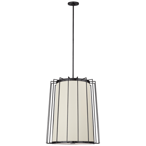 Carousel Medium Tapered Lantern in Bronze with Linen Shade