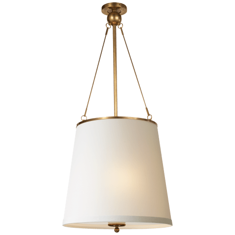 Westport Hanging Shade in Soft Brass with Silk Shade