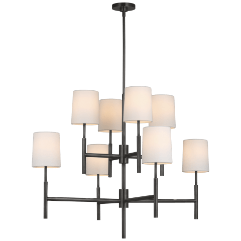 Clarion Large Two Tier Chandelier in Bronze with Linen Shades