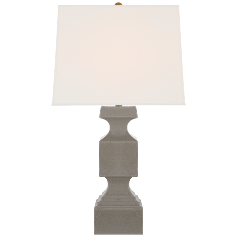 Finley Large Balustrade Table Lamp in Shellish Gray with Linen Shade