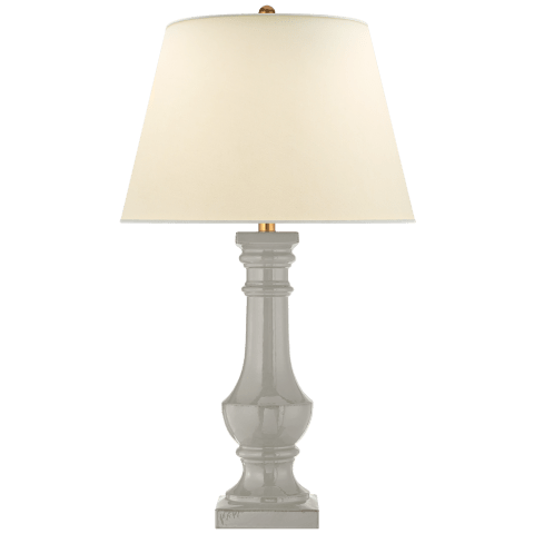 Round Balustrade Grande Table Lamp in Shellish Gray with Natural Percale Shade