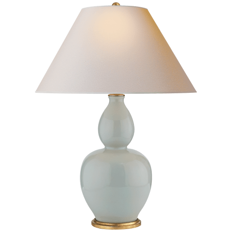 Yue Double Gourd Table Lamp in Ice Blue with Natural Paper Shade
