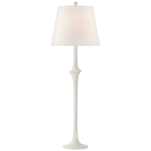 Bates Sculpted Buffet Lamp in Matte White with Linen Shade