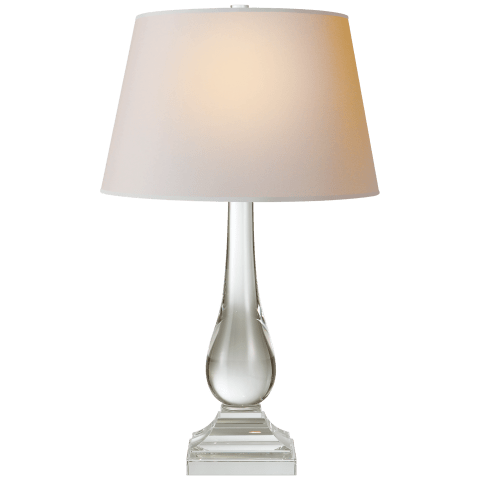 Modern Balustrade Table Lamp in Crystal with Natural Paper Shade