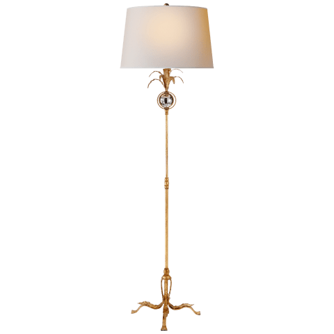 Gramercy Medium Floor Lamp in Gilded Iron with Natural Paper Shade