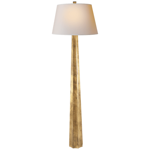 Fluted Spire Floor Lamp in Gilded Iron with Natural Paper Shade