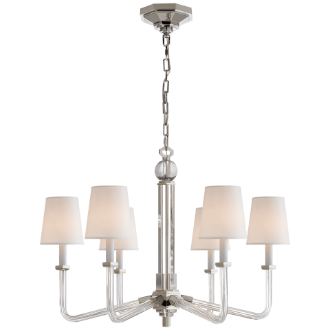 Bennett Six Arm Chandelier in Crystal and Polished Nickel with Natural Percale Shades