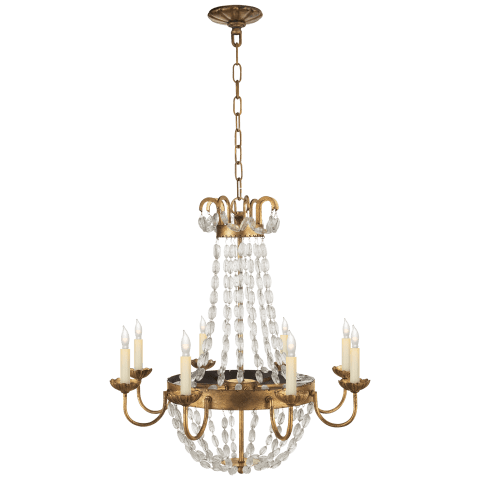 Paris Flea Market Medium Chandelier in Gilded Iron and Seeded Glass