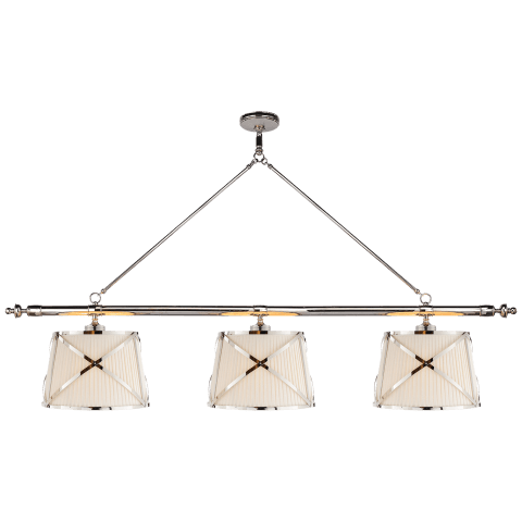 Grosvenor Linear Triple Pendant in Polished Nickel with Linen Shades
