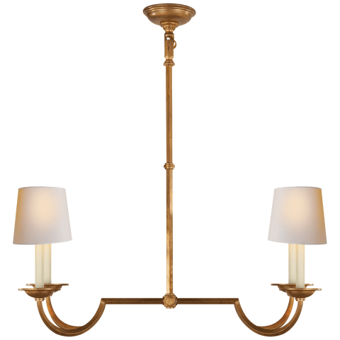 Flemish Small Linear Chandelier in Gilded Iron with Natural Paper Shades