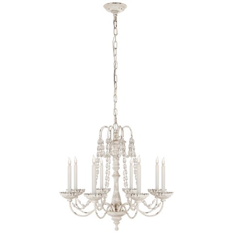 Flanders Small Chandelier in Belgian White with Seeded Glass Beads