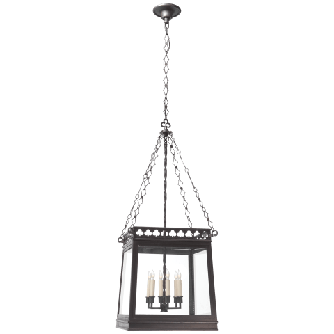 Clover Square Lantern in Aged Iron