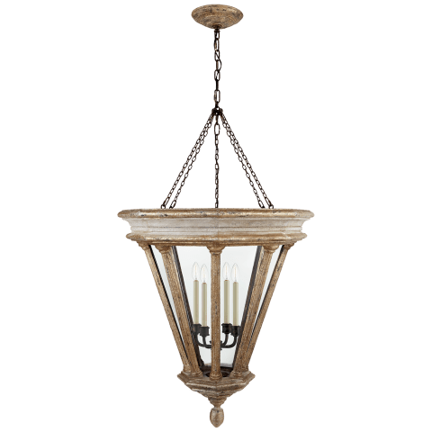 St. Germain Medium Lantern in Weathered White and Gold with Clear Glass