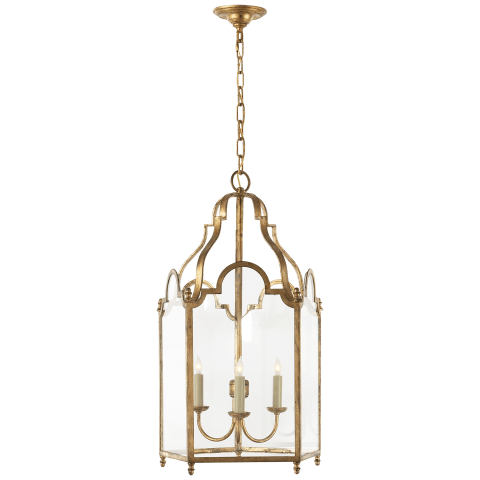 French Market Medium Lantern in Gilded Iron