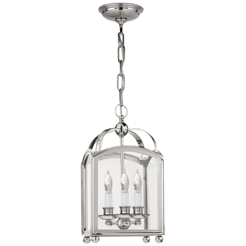 Arch Top Mini Lantern in Polished Nickel