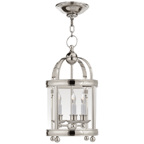 Edwardian Arch Top Mini Lantern in Polished Nickel