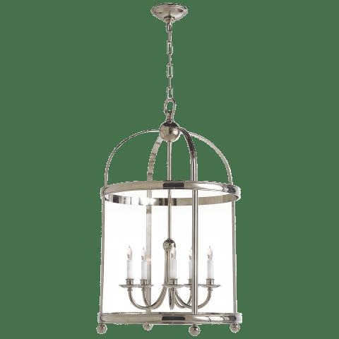 Edwardian Arch Top Large Lantern in Polished Nickel