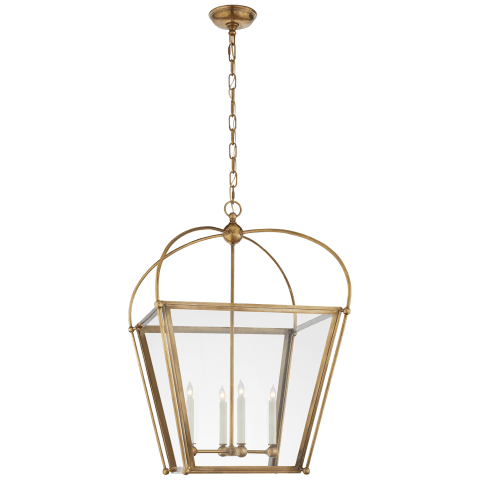 Plantation Medium Square Lantern in Antique-Burnished Brass with Clear Glass