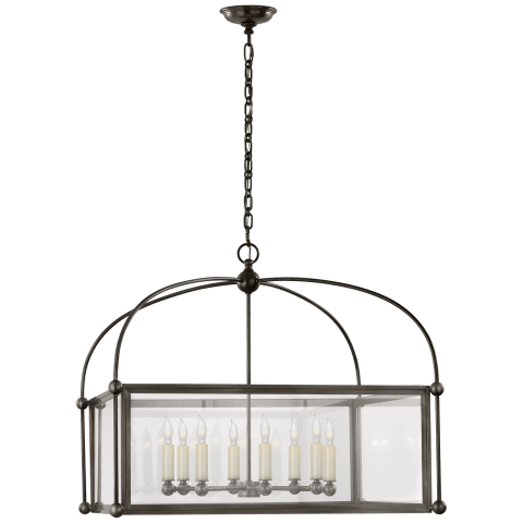Plantation Wide Square Lantern in Bronze with Clear Glass