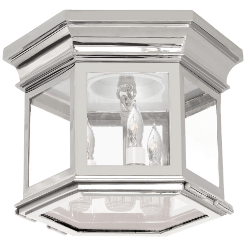 Club Small Hexagonal Flush Mount in Polished Nickel with Clear Glass