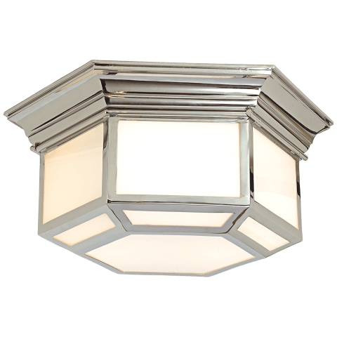 Cornice Hexagonal Flush Mount in Polished Nickel with White Glass