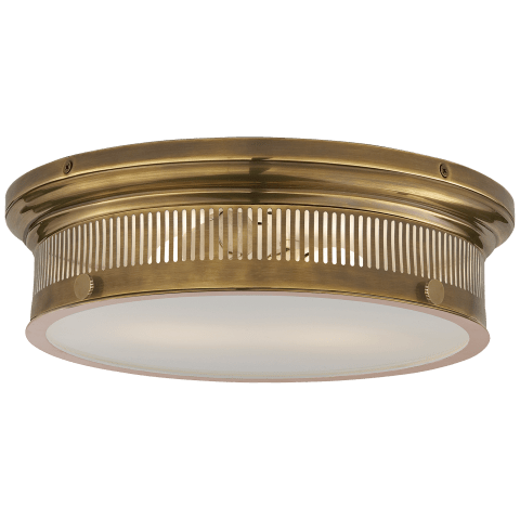 Alderly Flush Mount in Antique Brass with White Glass
