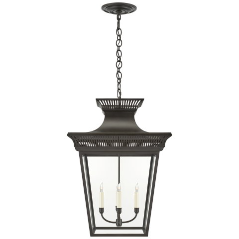 Elsinore Extra-Large Hanging Lantern in Black with Clear Glass