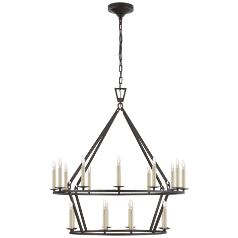 Darlana Medium Two-Tier Chandelier in Aged Iron