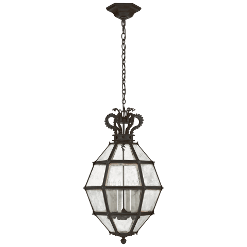 Venezia Medium Faceted Scroll-Top Lantern in Aged Iron with Antique Mirror
