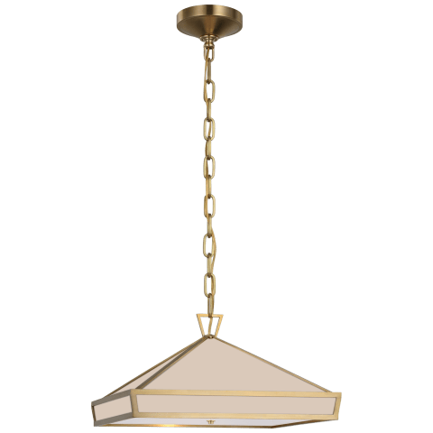 Darlana Small Pendant in Antique-Burnished Brass with White Glass Panels and Acrylic Diffuser