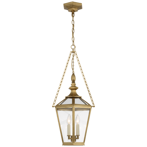 Evaline Small Lantern in Antique-Burnished Brass with Clear Glass