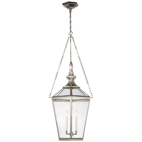 Evaline Large Lantern in Polished Nickel with Clear Glass