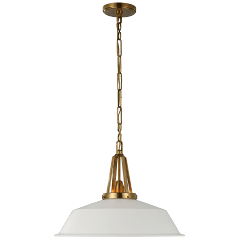 """Layton 20"""" Pendant in Antique-Burnished Brass with Matte White Shade"""