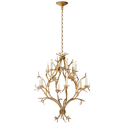 Branch Open Frame Chandelier in Gilded Iron