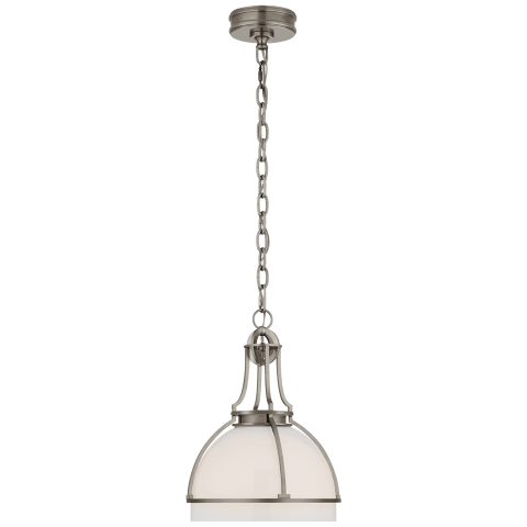 Gracie Medium Dome Pendant in Antique Nickel with White Glass