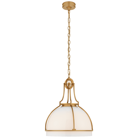 Gracie Large Dome Pendant in Antique-Burnished Brass with White Glass