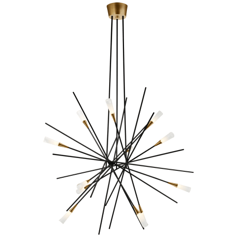 Stellar Large Chandelier in Matte Black and Antique Brass with Frosted Acrylic