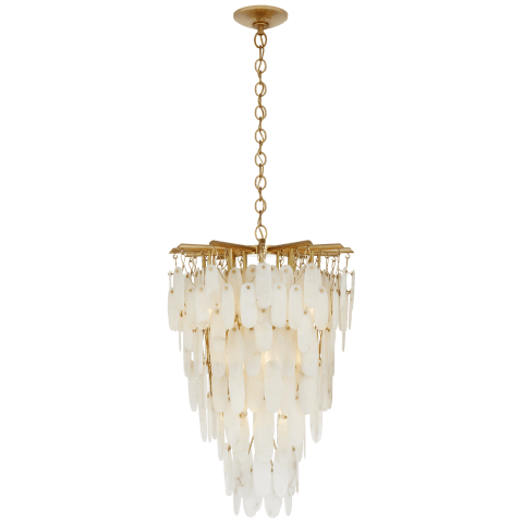 Cora Medium Tall Cascading Chandelier in Antique-Burnished Brass with Alabaster