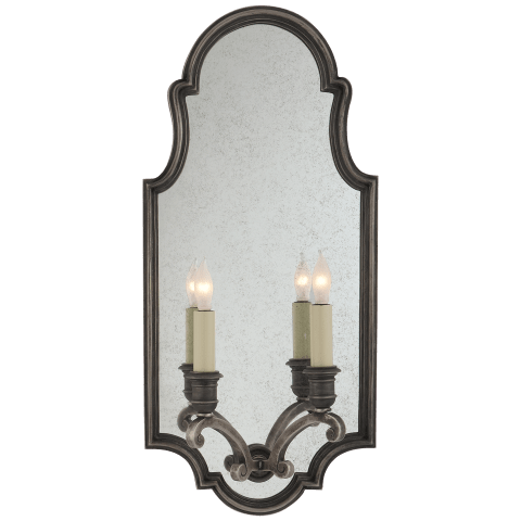 Sussex Medium Framed Double Sconce in Sheffield Nickel with Antique Mirror