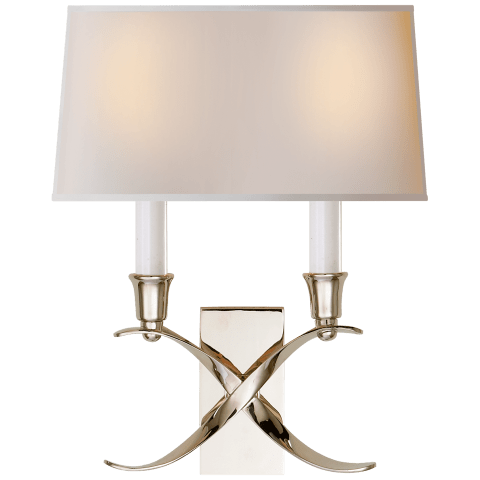 Cross Bouillotte Small Sconce in Polished Nickel with Natural Paper Shade