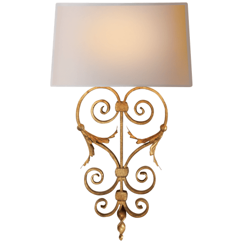 Emilia Sconce in Gilded Iron with Natural Paper Shade